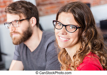 Woman face smile business people colleagues sitting office...