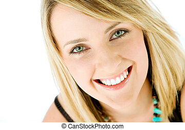 woman face smiling - Close-up of happy blond female face ...