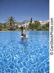 woman face smiling in pool
