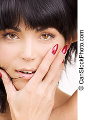 woman face - bright picture of lovely brunette woman face