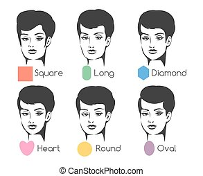 Woman face types - Set of six woman's face shapes. Isolated...