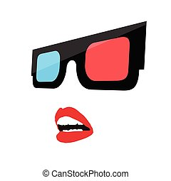 woman face with 3d glasses illustration