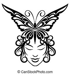 Woman face with butterfly hairdress