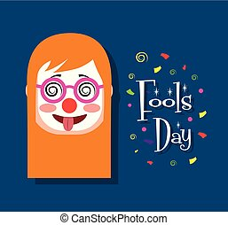woman face with clown mask tongue out funny fools day