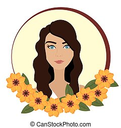 Woman face with flowers