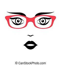 Woman face with glasses