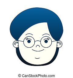 Woman face with glasses blue lines