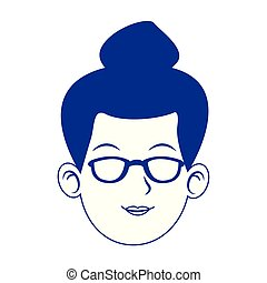 woman face with glasses icon, blue design