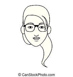 woman face with glasses icon, flat design