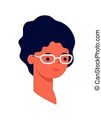 woman face with glasses on a white background