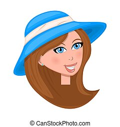 woman face with hat isolated on white background