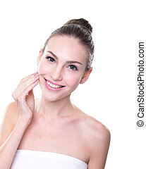 woman face with health teeth