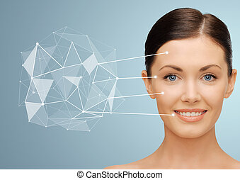 woman face with low poly projection and pointers - beauty,...