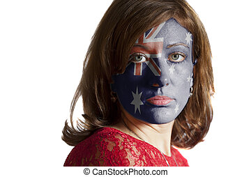 Woman face with painted Flag of Australia