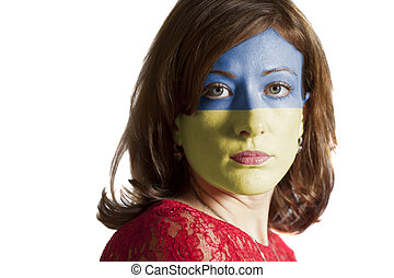 Woman face with painted Flag of Ukraine