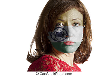 Woman face with painted Indian flag