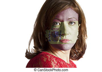 Woman face with painted Spain Flag