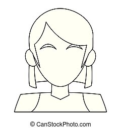 Woman faceless cartoon black and white