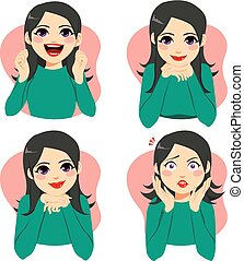 Woman Facial Emotion Expressions