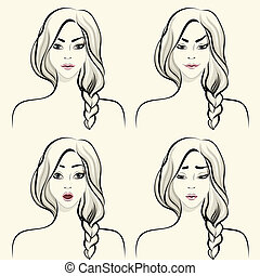 Woman facial emotions set
