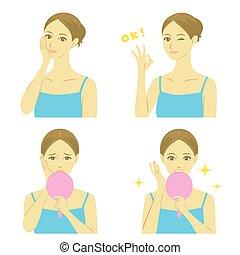 Woman facial treatment , vector file