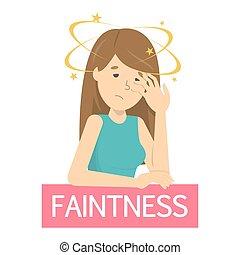Woman fainting. Symptom of disease or pregnancy.