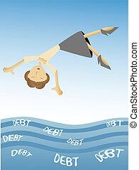 Nicely dressed cartoon female fall into watery metaphor of overwhelming debts