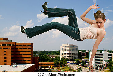 Woman Falling Through the Sky - A beautiful young teenage ...
