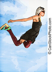 Woman Falling Through the Sky