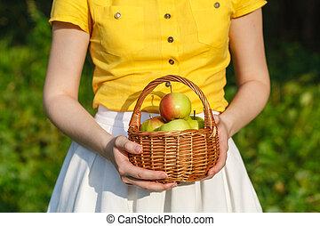 Woman farmer holding basket of apples in the garden