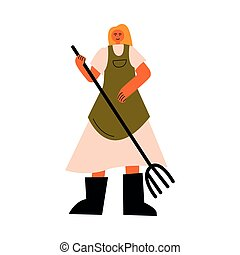 Woman farmer in boots standing and holding pitchfork vector ...