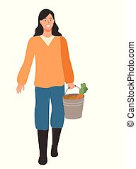 Woman Farmer with Vegetables in Bucket Isolated - Woman...