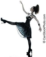 woman fashion black silk summer dress - one young beautiful...