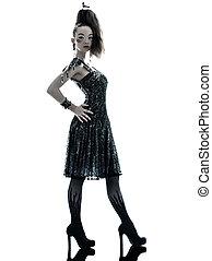 woman fashion black silk summer dress