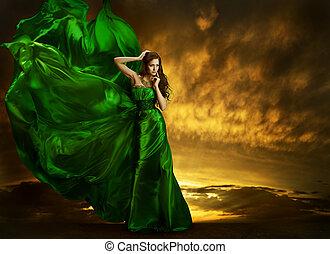 Woman Fashion Dress Fluttering On Wind, Elegant Girl...