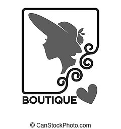 Woman fashion dress or hat boutique and atelier salon vector icon template