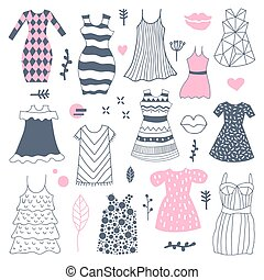 Woman Fashion Hand Drawn Dresses Doodle. Freehand vector illustration