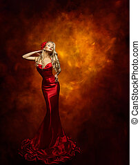 Woman Fashion Model Red Dress, Beauty Girl Posing in Glamour Gown