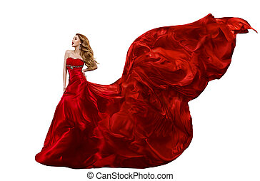 Woman Fashion Red Dress, Gown Waving on Wind, Girl with...