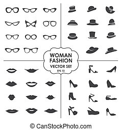 Woman Fashion Set vector - icons, glasses, hats, shoes, lips - Collection of icons can be used in web design, mobile applitsations, for decoration shops. eps 10