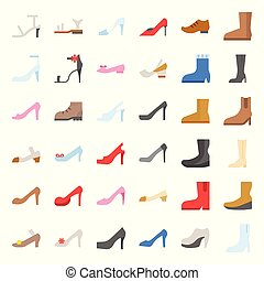Woman fashion Shoes, high heel and boot icon set, flat design