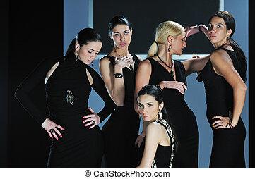 woman fashion show - beautiful woman on fashion show piste ...