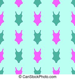 Woman fashion summer swimsuit green pink seamless background pattern