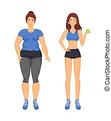 Woman Fat and Sportive Lady Vector Illustration - Woman fat...