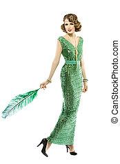 Woman feather in fashion retro sequin dress, luxury lady elegant
