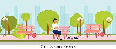 woman feeding flock of pigeon brunette girl sitting wooden bench city urban park cityscape background female cartoon character horizontal flat