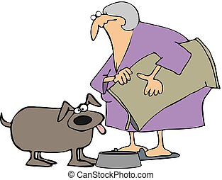 Woman Feeding Her Dog - This illustration depicts an old ...