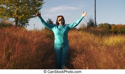 Woman feel freedom on nature