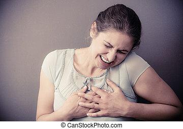 Woman feel pain ache