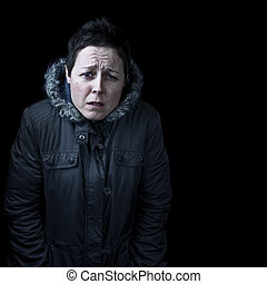 Woman feeling cold portrait